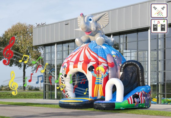 Disco Elefant Hüpfburg mit Musik mieten